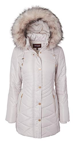 Women Longer Length Plush Lined Quilted Winter Puffer Coat Zip-Off Fur Trim Hood - Angora (Medium)