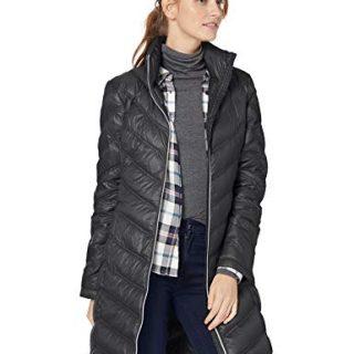Calvin Klein Women's Chevron Packable Down Coat, Black, Medium