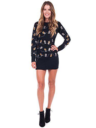 Tipsy Elves Women's Christmas Lights Ugly Sweater Dress
