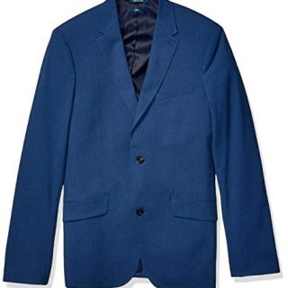 Perry Ellis Men's Big Tall Slim Fit Washable Stretch Sport Jacket, Bay Blue, 44 x Long
