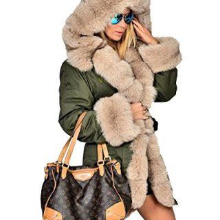 Roiii Womens Hooded Camouflage Warm Winter Coats Faux