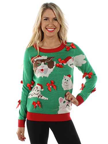 Women's Crazy Cat Lady Sweater: Large Green
