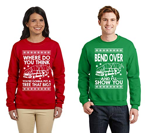 SignatureTshirts Matching Couples Shirt Bend Over Ugly Christmas Sweater