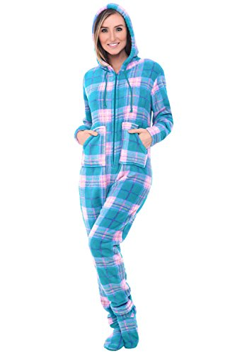 Alexander Del Rossa Women's Warm Fleece One Piece Footed Pajamas