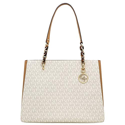 Michael Kors Sofia Large Signature MK Shoulder Tote Bag in Vanilla/Acorn