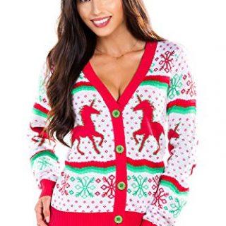 Women's Unicorn Ugly Christmas Sweater - White Cute Unicorn