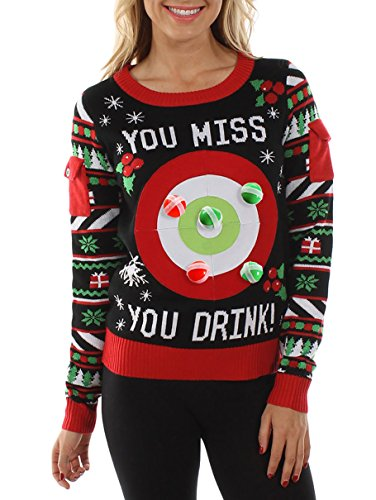 Tipsy Elves Women's Drinking Game Ugly Christmas Sweater