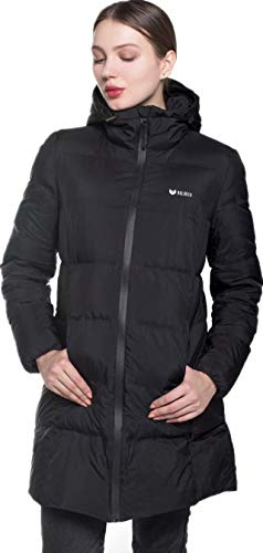 Beinia Valuker Women's Seamless Hooded Down Coat Jacket Puffer Parka Jacket Black-11-XL