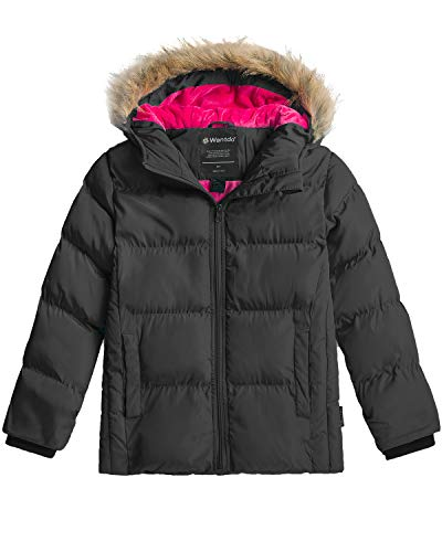Wantdo Girl's Heavy Winter Parka Coat Thickened Puffer Jacket Black