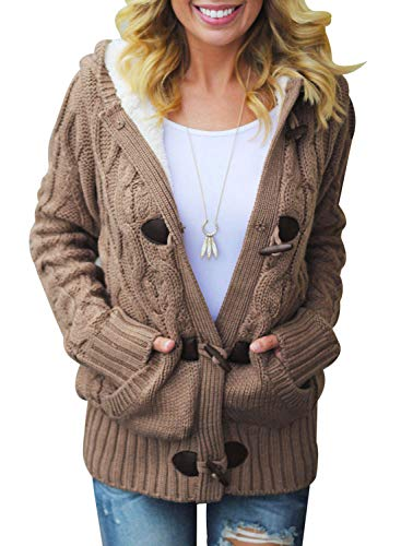 SIDEFEEL Women Button Up Cardigan Hooded Sweater Coat Outwear