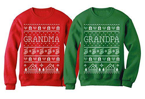 Grandma & Grandpa Matching Ugly Christmas Sweatshirts Set