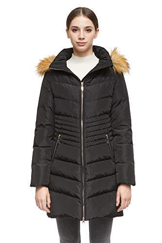 Orolay Women's Down Coat with Removable Faux Fur Hood Black M