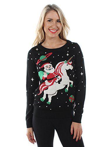 Tipsy Elves Women's Santa Unicorn Christmas Sweater