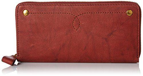 FRYE Women's Campus Rivet Zip Wallet, Burnt Red