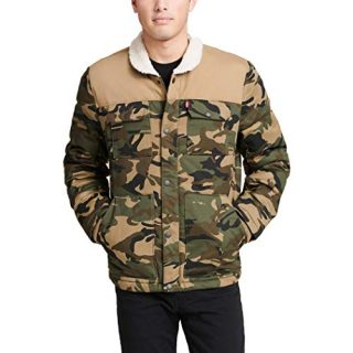 Levi's Men's Quilted Mixed Media Shirttail Work wear Puffer Jacket