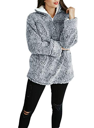 ZESICA Women's Autumn Winter Long Sleeve Zipper Sherpa Fleece