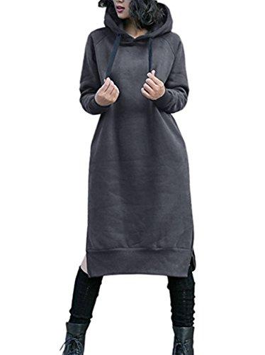 NUTEXROL Women's Thickening Long Fleece Sweatshirt String Hoodie