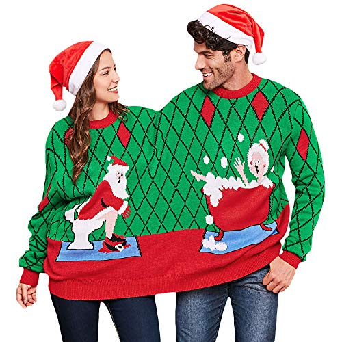 BeautyGal Two Person Knit Ugly Sweater Xmas Couples Pullovers