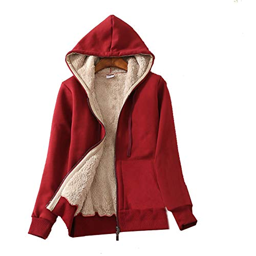 Flygo Women's Casual Warm Thick Sherpa Lined Full Zip Hooded Sweatshirt
