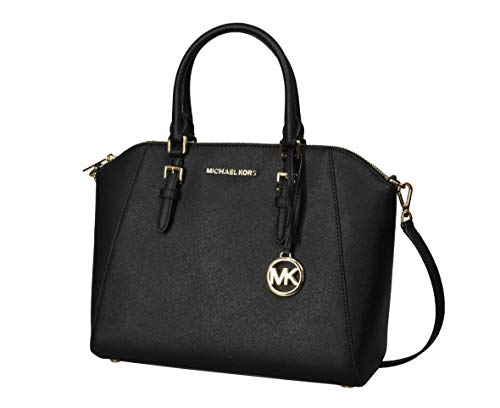 Michael Kors Large Ciara Saffiano Leather Womens Satchel (Black)