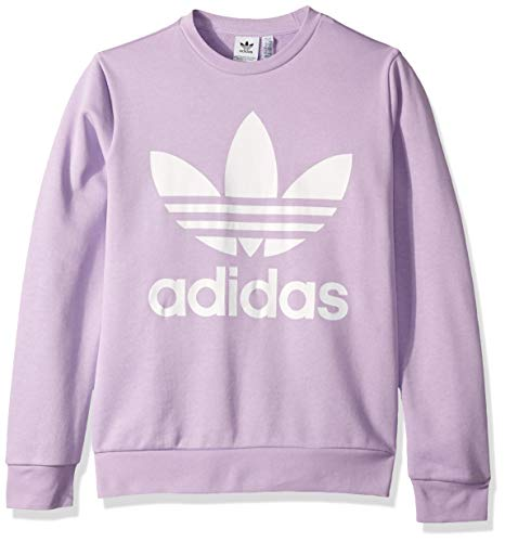 adidas Originals Kid's Trefoil Crew Sweater, Purple Glow/White