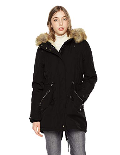 Royal Matrix Women's Mid-Length Detachable Faux Fur Winter Parka Jacket with Ribbing (Black, 14)