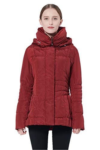 Orolay Women's Short Down Coat Winter Jacket with Removable Hood Red L