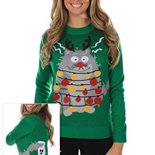 Women's Ugly Christmas Sweater - The Electrocuted Cat Sweater Green