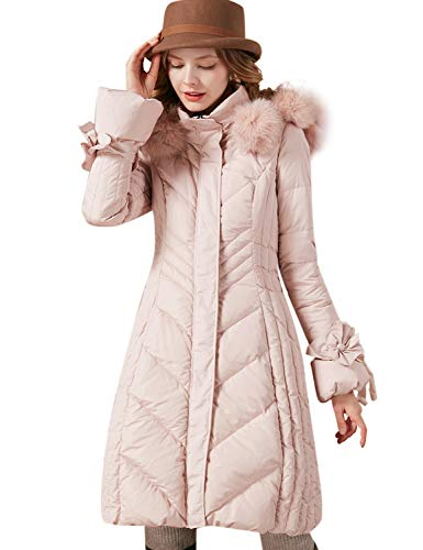 Artka Women's Detachable Fox Fur Hoodie Long Down Jacket with Pompoms Empire Waist Winter Parka Coat Pink