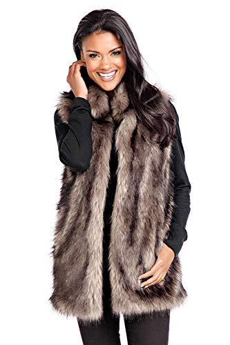 Donna Salyers' Fabulous-Furs Grey Wolf Faux Fur Hook Vest