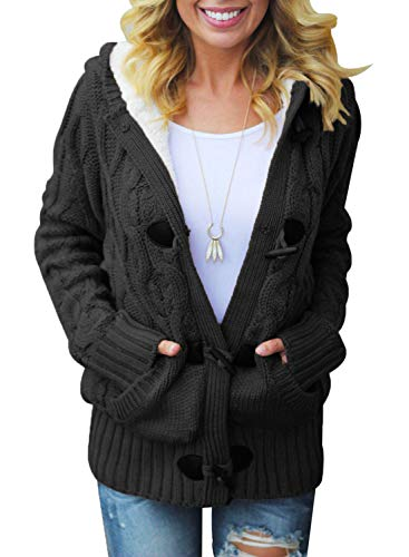 Dokotoo Womens Fashion Ladies Winter Chunky Hooded Casual Cardigans