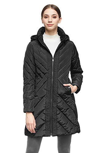 Orolay Women's Down Jacket Winter Removable Hooded Coat Black 2XL