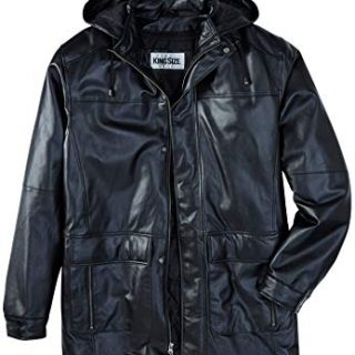 KingSize Men's Big & Tall Hooded Leather Parka