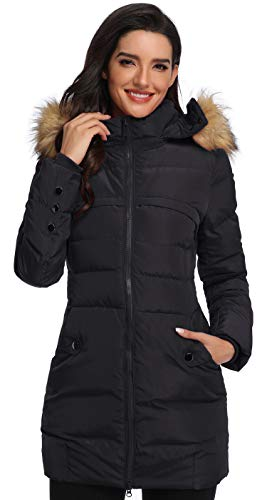 Epsion Women's Hooded Thickened Long Down Jacket Winter Down Parka Puffer Jacket Black