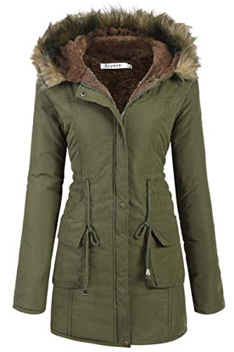 Beyove Womens Military Hooded Warm Winter Faux Fur Lined Parkas Anroaks Long Coats