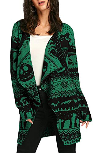 Pink Queen Women's Draped Christmas Xmas Knit Tunic Cardigan Green