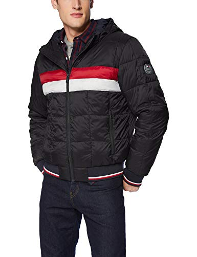 Tommy Hilfiger Men's Quilted Colorblock Hoody Puffer Bomber Jacket
