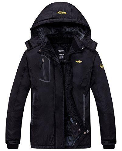 Wantdo Women's Mountain Waterproof Fleece Ski Jacket Windproof Rain Jacket, X-Large, Black