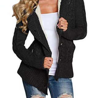 Asvivid Womens Winter Warm Button Down Cable Knit Cardigans Fleece
