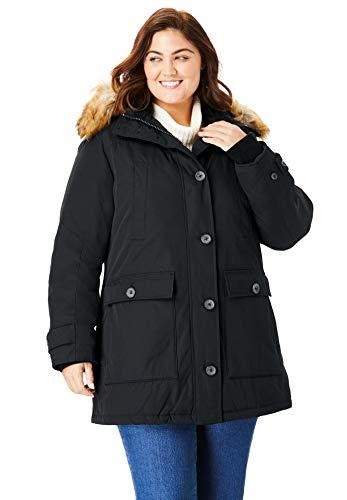 Woman Within Women's Plus Size The Arctic Parka - Black, 4X