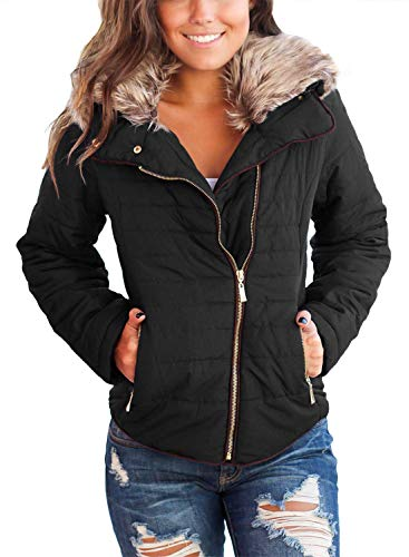 Vetinee Women Casual Faux Fur Lapel Zip Pockets Quilted Parka Jacket