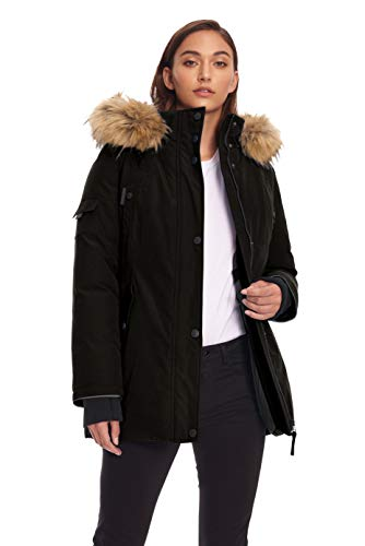 Alpine North Womens Vegan Down Parka Winter Jacket, Black, M