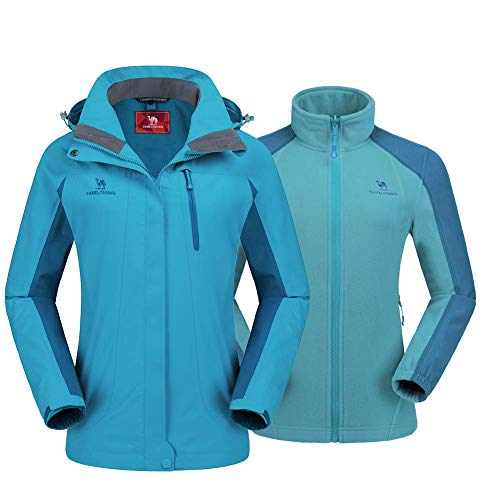 CAMEL CROWN Women's Outdoor Sports Jacket 3 in 1 Ski Waterproof Mountain Coat Snow Windproof Hooded with Inner Warm Fleece Breathable