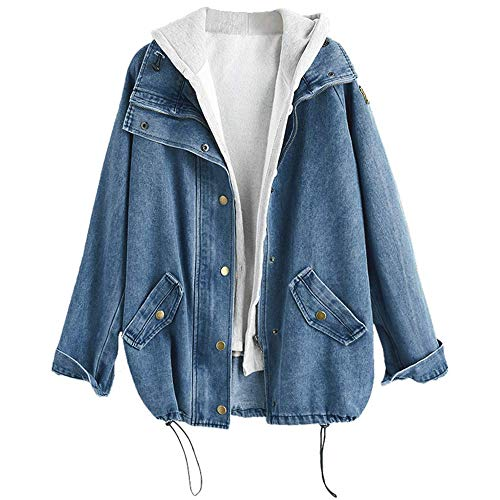 ZAFUL Women's Hooded Denim Jacket Plus Size Drawstring Fashion