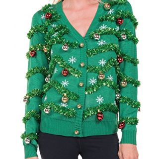 Women's Gaudy Garland Cardigan - Tacky Christmas Sweater