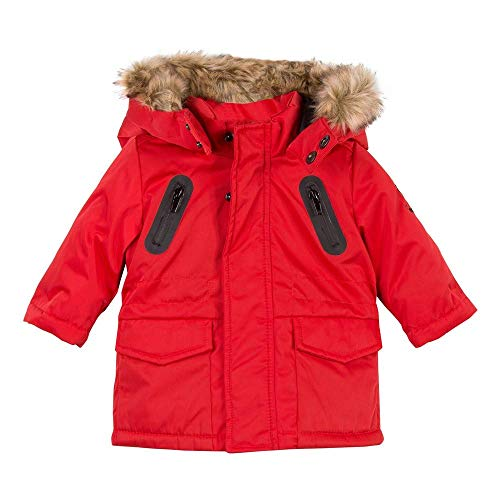 Catimini Faux Fur Hooded Twill Parka in red