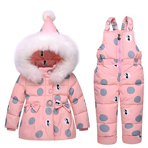 LSERVER Infant Toddler Girl Pink Down Coat Snowsuit Warm Jacket