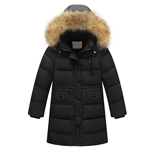 Lavany Little Boys Girls Down Coats Faux Fur Hooded Padded Long Parka Coat