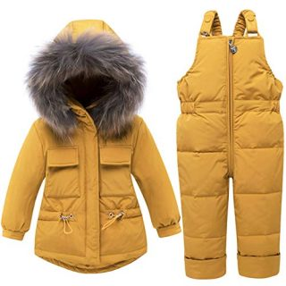JELEUON Baby Girls Two Piece Winter Warm Hooded Fur Trim Snowsuit