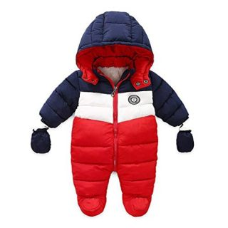 RUIMING Newborn Baby Snowsuit Infant Winter Coat Hooded Zipper